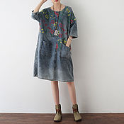 Одежда handmade. Livemaster - original item Large code leisure Cotton denim dress. Handmade.
