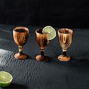 Посуда handmade. Livemaster - original item Set of glasses (stacks) on a leg made of Siberian cedar RN6. Handmade.