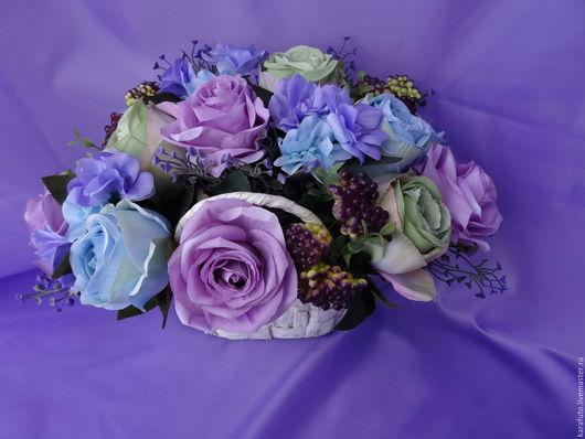 Цветы, букет, интерьерные цветы, интерьерный букет, флористическая композиция, интерьерная композиция, Елена Karafuto, подарок женщине, подарок девушке, подарок на 8 марта, розы, корзина, акварель.