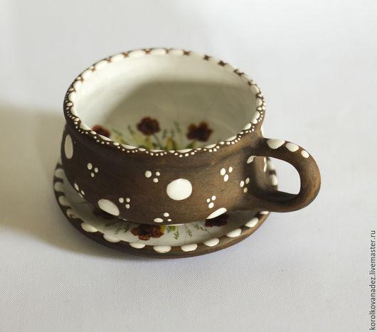 Кружки и чашки ручной работы. Ярмарка Мастеров - ручная работа. Купить Чайная пара керамическая (майолика). Handmade. Кофейная чашка