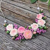 Украшения handmade. Livemaster - original item Necklace with peonies and lilacs. Handmade.