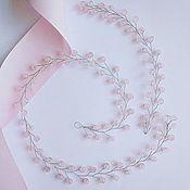 Свадебный салон ручной работы. Ярмарка Мастеров - ручная работа Веточка для волос из натурального розового кварца Rose Quartz. Handmade.