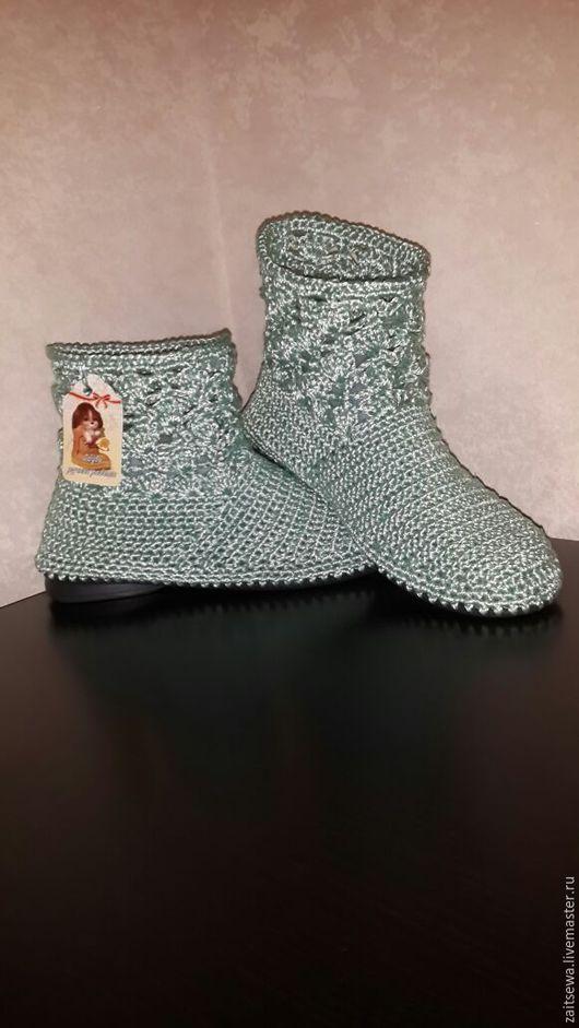 Обувь ручной работы. Ярмарка Мастеров - ручная работа. Купить Полусапожки.....цвет Водопад. Handmade. Тёмно-бирюзовый, вязание на заказ