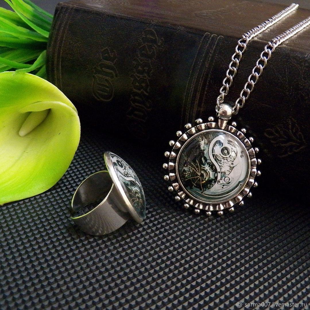 ' Steampunk ' set of ring, pendant suspension brass, Jewelry Sets, Voronezh,  Фото №1
