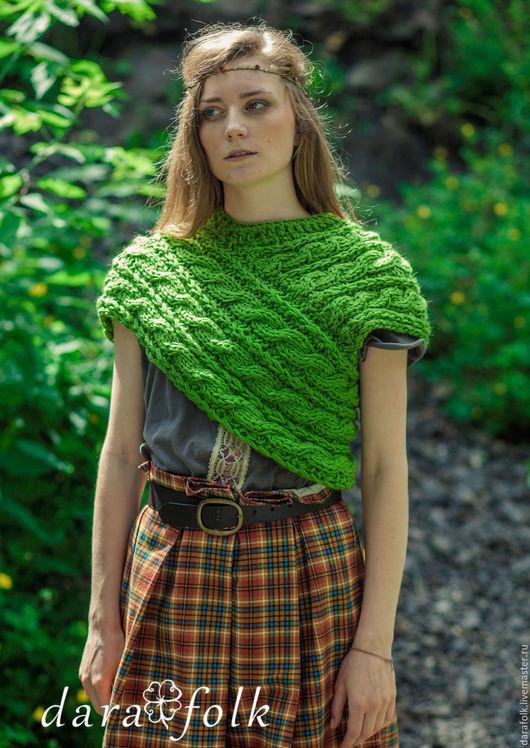 """Этническая одежда ручной работы. Ярмарка Мастеров - ручная работа. Купить Хомут """"Тара"""". Handmade. Ярко-зелёный, шарф, бохо"""