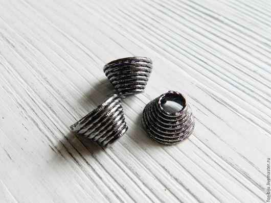 Шапочка для бусин концевик Спираль, цвет Никель (очень темное серебро) размер 14*10 мм, отверстие 5,1 мм, материал цинковый сплав, не содержит свинца и никеля (арт. 1298)