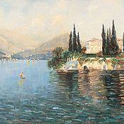 Картины и панно handmade. Livemaster - original item Oil painting Villa in Cyprus seascape. Buy oil painting. Handmade.