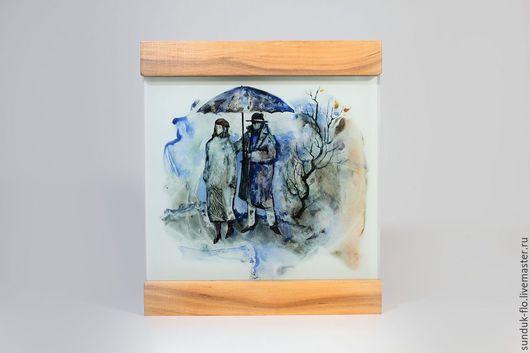 """Люди, ручной работы. Ярмарка Мастеров - ручная работа. Купить Стеклянная картина """"Двое под зонтом"""". Handmade. Тёмно-синий"""