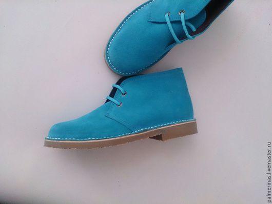 Обувь ручной работы. Ярмарка Мастеров - ручная работа. Купить Новые размеры бирюзовых ботинок. Handmade. Бирюзовый, замшевые ботинки