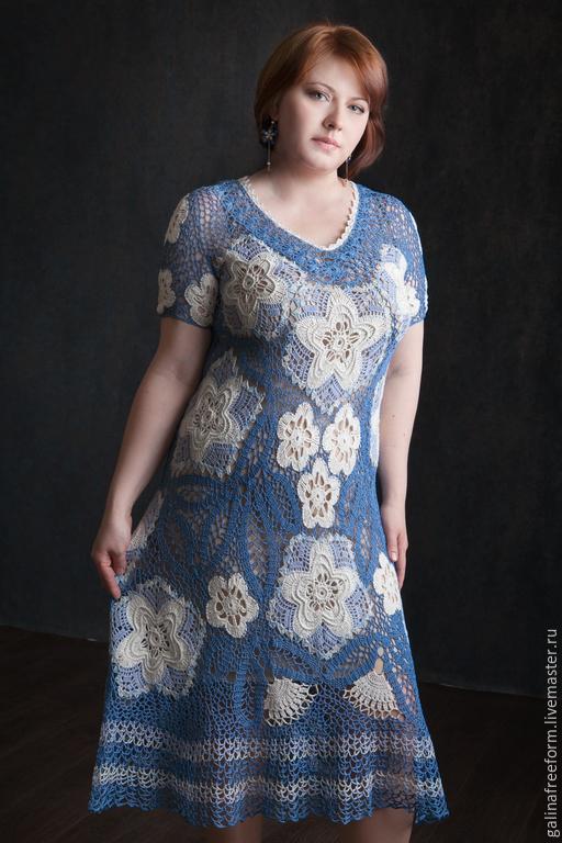 """Платья ручной работы. Ярмарка Мастеров - ручная работа. Купить Платье """"Безмятежность"""". Handmade. Голубой, хлопок 100%"""