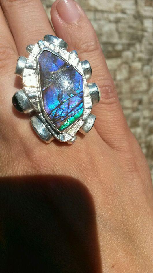 Кольца ручной работы. Ярмарка Мастеров - ручная работа. Купить Кольцо с аммолитом фиолетовым. Handmade. Кольцо с турмалином, турмалин натуральный