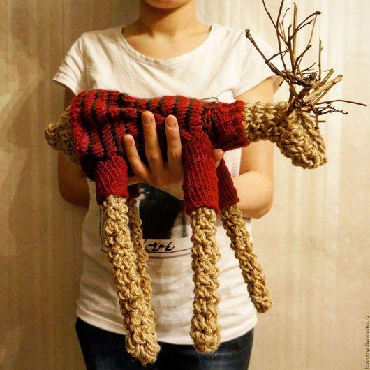 Игрушки животные, ручной работы. Ярмарка Мастеров - ручная работа. Купить Интерьерная вязанная кукла лось-олень. Handmade. Бордовый