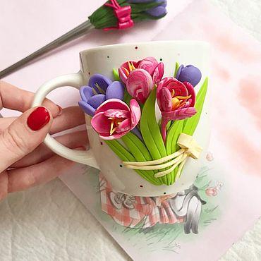 Посуда ручной работы. Ярмарка Мастеров - ручная работа Кружка с цветами из полимерной глины. Handmade.