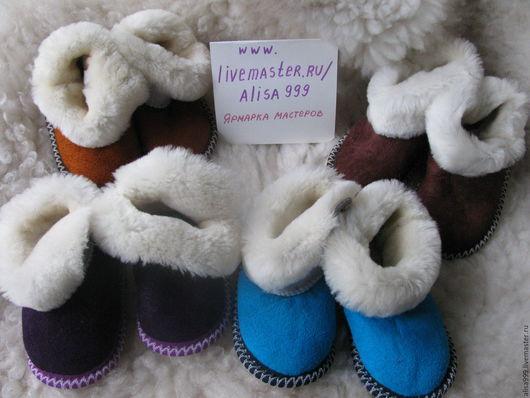 Обувь ручной работы. Ярмарка Мастеров - ручная работа. Купить Детские тапочки из овчины для мальчиков. Handmade. Фиолетовый, овечья шерсть