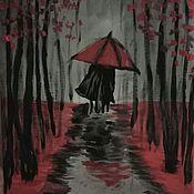 Картины ручной работы. Ярмарка Мастеров - ручная работа Счастливая пара гуляет по дождливому парку. Холст, акрил, 25х35 см. Handmade.