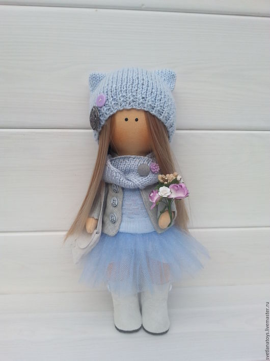 Куклы тыквоголовки ручной работы. Ярмарка Мастеров - ручная работа. Купить интерьерная кукла. Handmade. Голубой, кукла текстильная, фатин