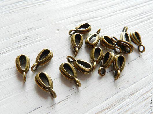Бейлы для подвесок и кулонов, размер 13*4*5 мм, цвет БРОНЗА, материал сплав металлов, не содержит свинца и никеля (арт. 1801)