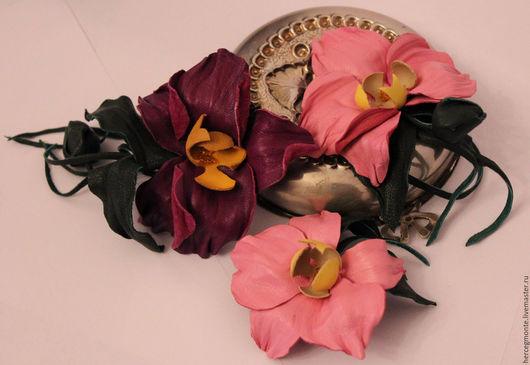 Заколки ручной работы. Ярмарка Мастеров - ручная работа. Купить Брошь-заколка орхидея, чокер орхидея. Handmade. Розовый