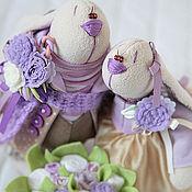 Куклы и игрушки ручной работы. Ярмарка Мастеров - ручная работа Зайцы. Сиреневая парочка. Handmade.
