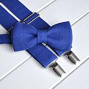 Галстуки ручной работы. Ярмарка Мастеров - ручная работа Галстук-бабочка Синий лён, подтяжки синие льняные. Handmade.
