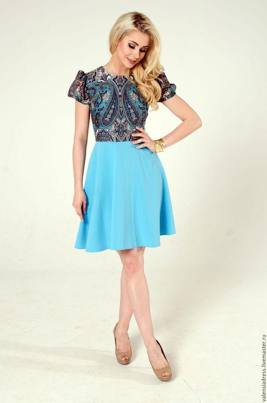 Платье летнее, платье короткое, павлопосадский платок, русский стиль