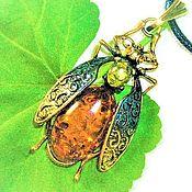Украшения handmade. Livemaster - original item Amber pendant Insect beetle decoration for girl woman. Handmade.