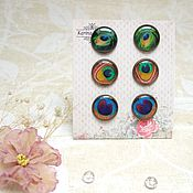 Украшения handmade. Livemaster - original item Vintage stud Earrings Peacock Feathers Ornaments from Resin. Handmade.
