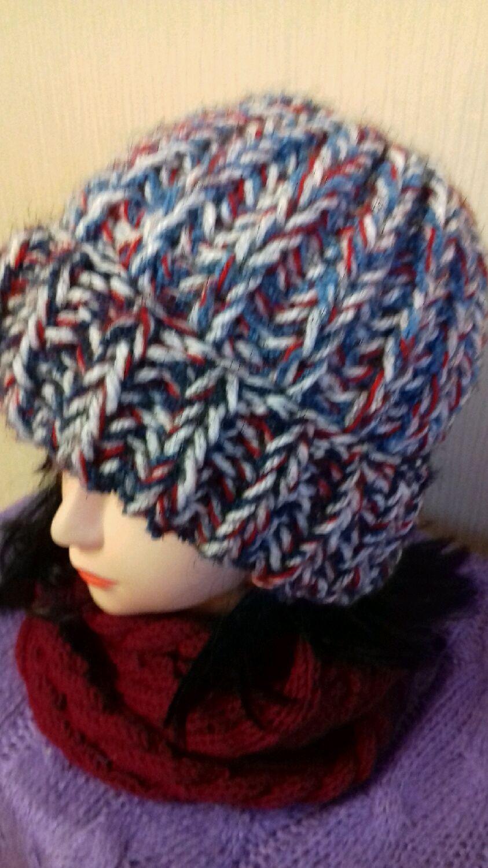 шапка вязаная шапка спицами модная женская шапкаbarbara тренд