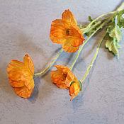 Материалы для творчества ручной работы. Ярмарка Мастеров - ручная работа Цветок мака оранжевый. Handmade.