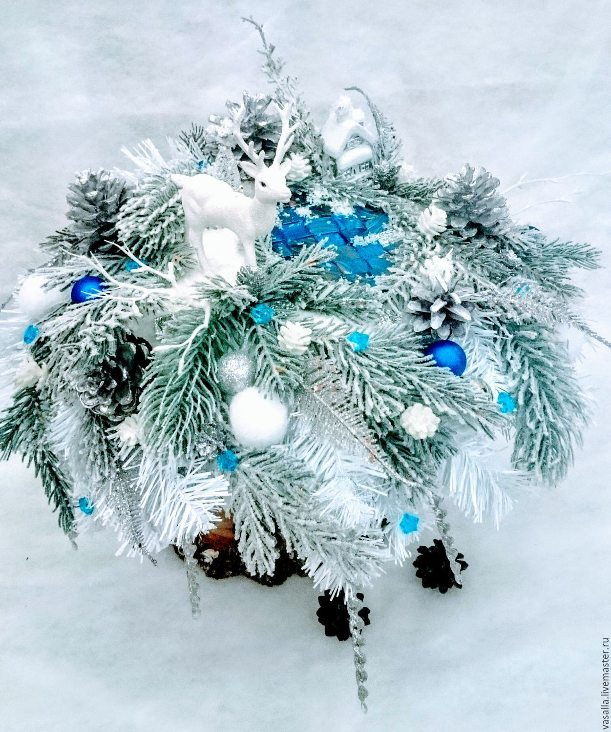 Christmas composition-a bouquet of 'Deer at the forest lake', Gifts, Moscow, Фото №1