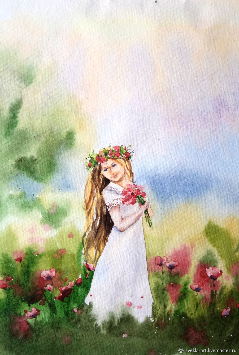 Painting watercolor 'summer Girl', Pictures, Kansk,  Фото №1