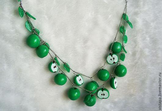"""Колье, бусы ручной работы. Ярмарка Мастеров - ручная работа. Купить Колье """"Зеленые яблочки"""". Handmade. Зеленый, колье"""