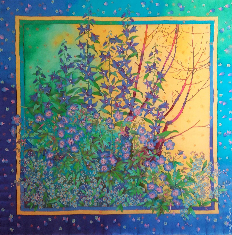 batik scarf 'the Edge of the forest. Blue flowers' batik on silk, Scarves, Varna,  Фото №1