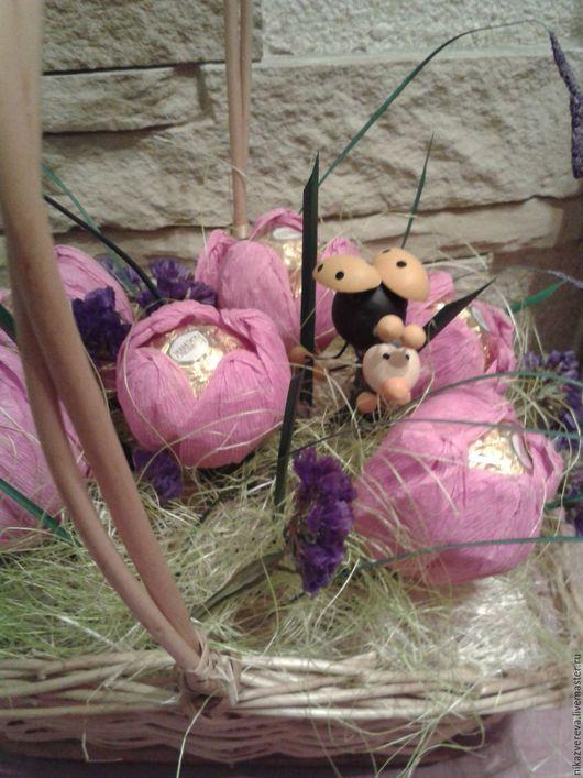 Букеты ручной работы. Ярмарка Мастеров - ручная работа. Купить Букет из конфет  Тюльпаны. Handmade. Розовый, букет из конфет в подарок