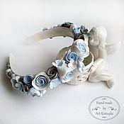 Свадебный салон ручной работы. Ярмарка Мастеров - ручная работа Ободок с серо-голубыми цветами. Handmade.