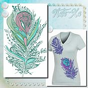 Материалы для творчества handmade. Livemaster - original item Design for machine embroidery. Feathers (set). Handmade.
