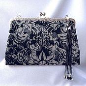 Сумки и аксессуары handmade. Livemaster - original item Evening handbag with clasp leather suede black silver. Handmade.