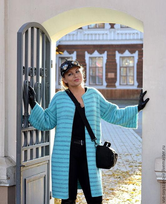 Верхняя одежда ручной работы. Ярмарка Мастеров - ручная работа. Купить вязаное пальто из шерсти альпаки Бриз II. Handmade.