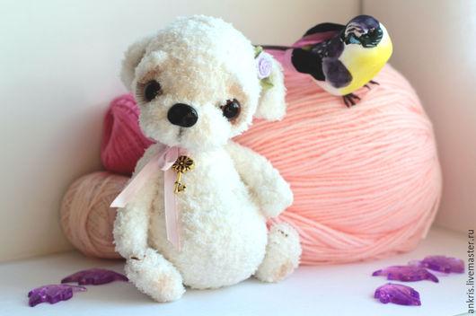 Мишки Тедди ручной работы. Ярмарка Мастеров - ручная работа. Купить Белый тедди щенок крошка Лу. Handmade. Белый