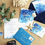 Свадебный салон ручной работы. Ярмарка Мастеров - ручная работа Акварельные свадебные синие приглашения Сердце океана. Handmade.