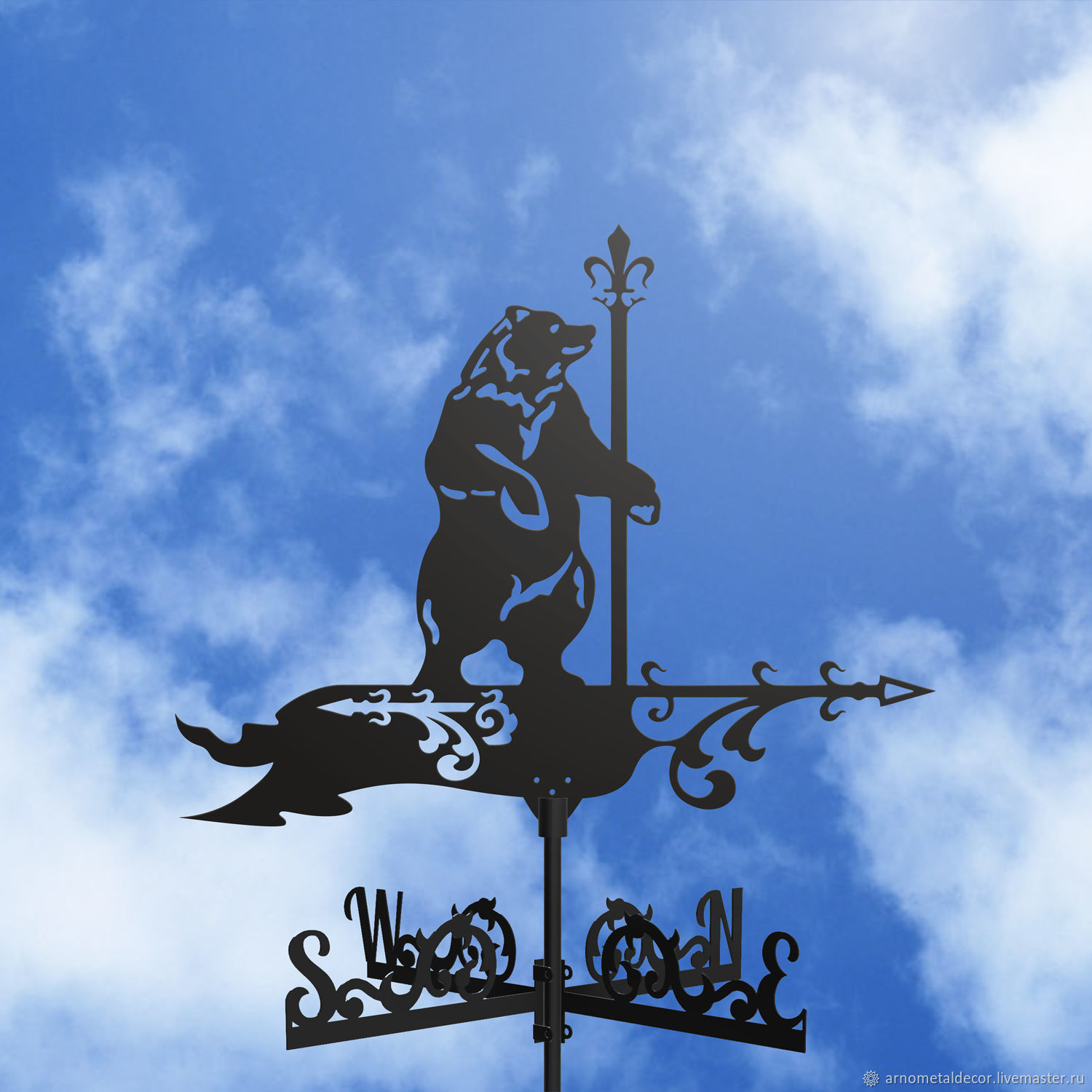 Weather vane on the roof ' Bear with a flag', Vane, Ivanovo,  Фото №1