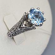 Украшения handmade. Livemaster - original item Silver ring with topaz 8 mm and cubic zirconia. Handmade.