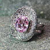 """Украшения ручной работы. Ярмарка Мастеров - ручная работа """"Lavender rose"""" кольцо с розовым кунцитом в серебре c сапфирами. Handmade."""