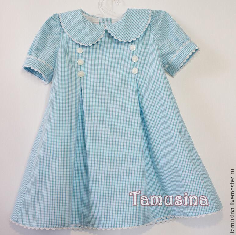 Одежда для девочек, ручной работы. Ярмарка Мастеров - ручная работа. Купить Платье в клеточку Белые цветы. Handmade. Голубой, в клеточку