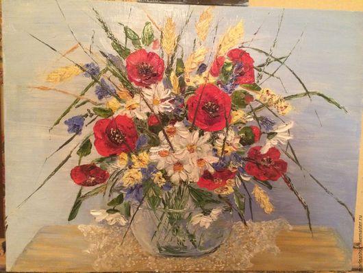 Цветы маки, ромашки, колокольчики, полевой букет, в вазе. Картина маслом, ручная работы, мастихином. Ярко-красный, белый, зеленый, васильковый, желтый, голубой оттенки. Купить картину в подарок.
