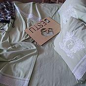 Для дома и интерьера handmade. Livemaster - original item Bed linen monophonic mint flax with lace and embroidery monogram. Handmade.