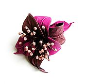 Украшения handmade. Livemaster - original item Brooch flower leather Orchid