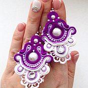 Украшения handmade. Livemaster - original item Earrings purple-white Snowflakes embroidered soutache and pearls. Handmade.