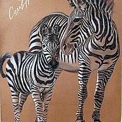 Картины и панно ручной работы. Ярмарка Мастеров - ручная работа картина Зебры. Handmade.