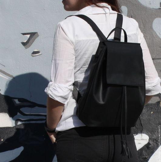 Кожаный женский рюкзак, купить рюкзачок на лето, небольшой кожаный рюкзак, черный кожаный рюкзак, рюкзак из кожи. Мастер Сечкина Юлия http://www.livemaster.ru/v-dome-radosti